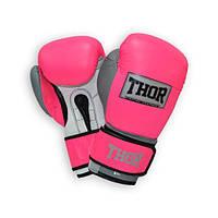 Перчатки боксерские THOR TYPHOON 16oz /PU /розово-бело-серые, фото 1
