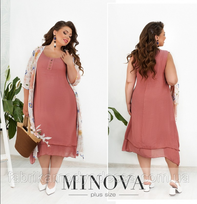 Комплект платье и накидка лен-жатка Minova Размеры: 52