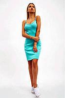 Платье-майка повседневное однотонное мини из хлопка (2 цвета, р.S, M)