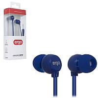 Наушники Ergo VT-901 синие, вакуумные, проводные для телефона, навушники эрго