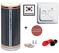 Теплый пленочный пол Hot Film 2,5м² (0.5м х 5м) 550Вт/220Ват/м² с механическим терморегулятором RTC 70