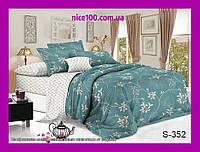 Полуторный комплект постельного белья из хлопка Полуторний комплект постільної білизни на молнии S352