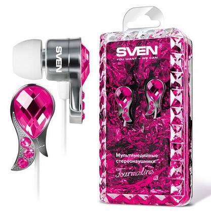 Наушники SVEN SEB TOURMALINE розовые, вакуумные, проводные для телефона, навушники свен, фото 2