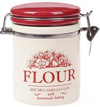 Банка керамическая Bona Английский Шиповник Flour с металлической затяжкой 600 мл Белый с красным, КОД: 1033684