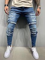 Рваные джинсы мужские синие с липучками, зауженные джинсы молодежные 2Y Premuim Турция 2020