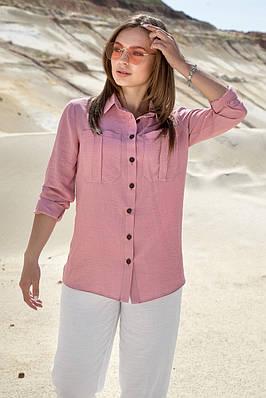 Женская летняя хлопковая розовая рубашка с длинными рукавами