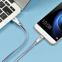 Кабель USB Type C, Hoco Zinc Alloy Jelly knitted, серый, 1.2 метра (U9), фото 3