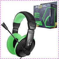 Игровые наушники с микрофоном Gemix W-300 Black/Green, игровая гарнитура