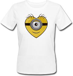 Женская футболка Fat Cat Миньон - Сердце (белая)