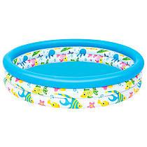 Детский надувной бассейн круглый рыбкидля детей от 3 лет, 3 кольца, 122 х 25 см, 51009