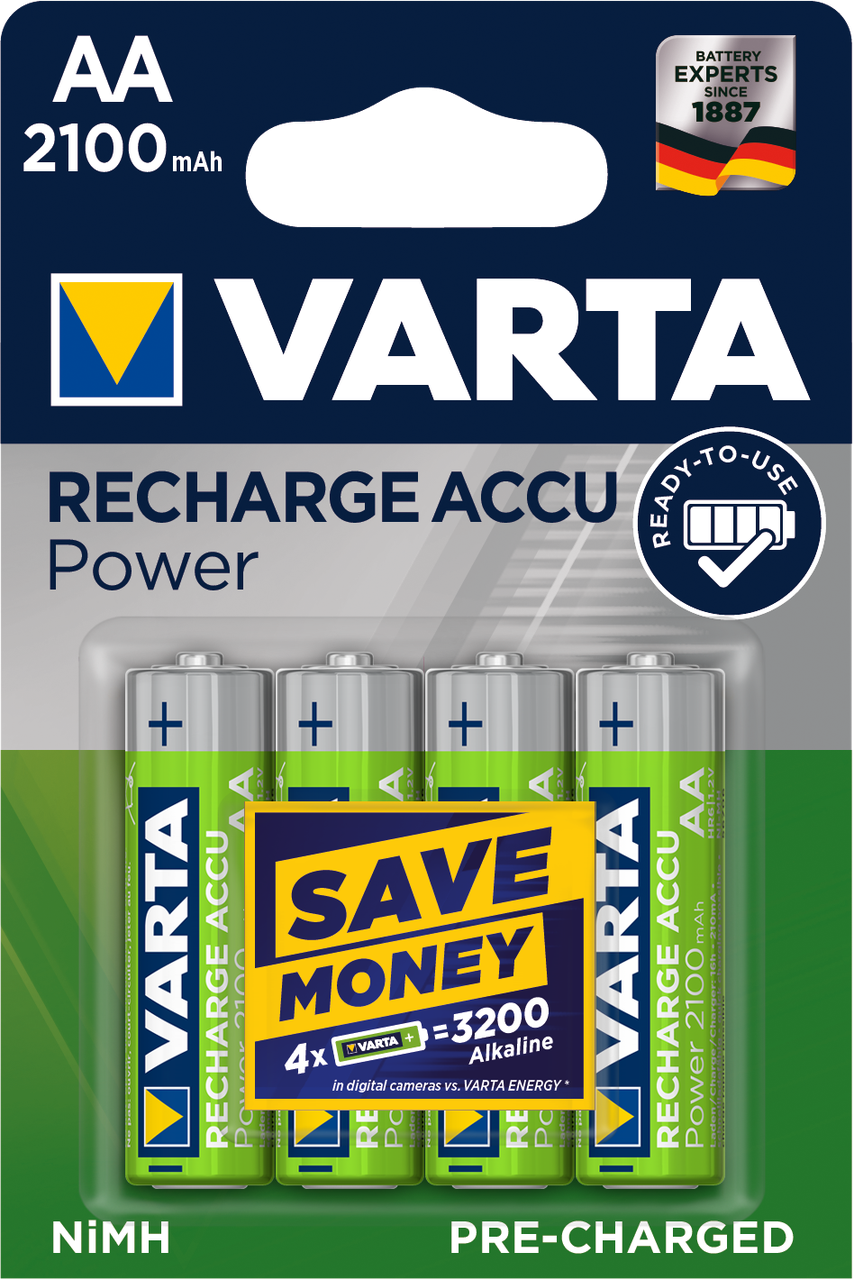Аккумуляторы АА, 2100 mAh, Varta Rechargeable Accu, 4 шт, 1.2V, Blister (56706101404)