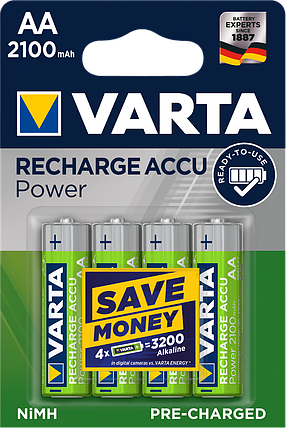 Аккумуляторы АА, 2100 mAh, Varta Rechargeable Accu, 4 шт, 1.2V, Blister (56706101404), фото 2