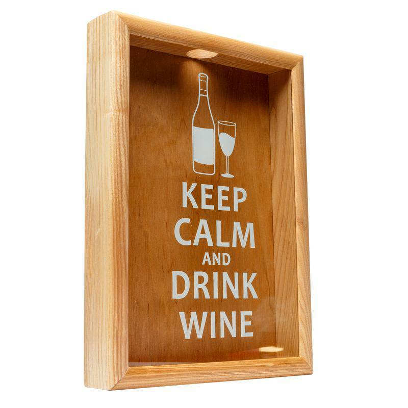 Копилка для пробок BST PRK-13 50х35см ясень Keep calm and drink wine большая