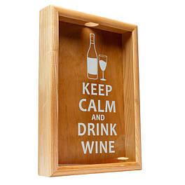 Копилка для пробок BST PRK-13 50х35см ясень Keep calm and drink wine большая