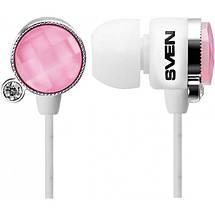 Наушники Sven SEB-160 (GD-1600) бело-розовые, вакуумные, проводные для телефона, навушники свен, фото 2