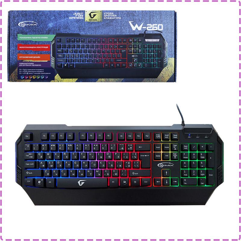 Игровая клавиатура Gemix W-260 Black, USB с подсветкой 7 цветов, геймерская клавиатура