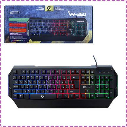Игровая клавиатура Gemix W-260 Black, USB с подсветкой 7 цветов, геймерская клавиатура, фото 2