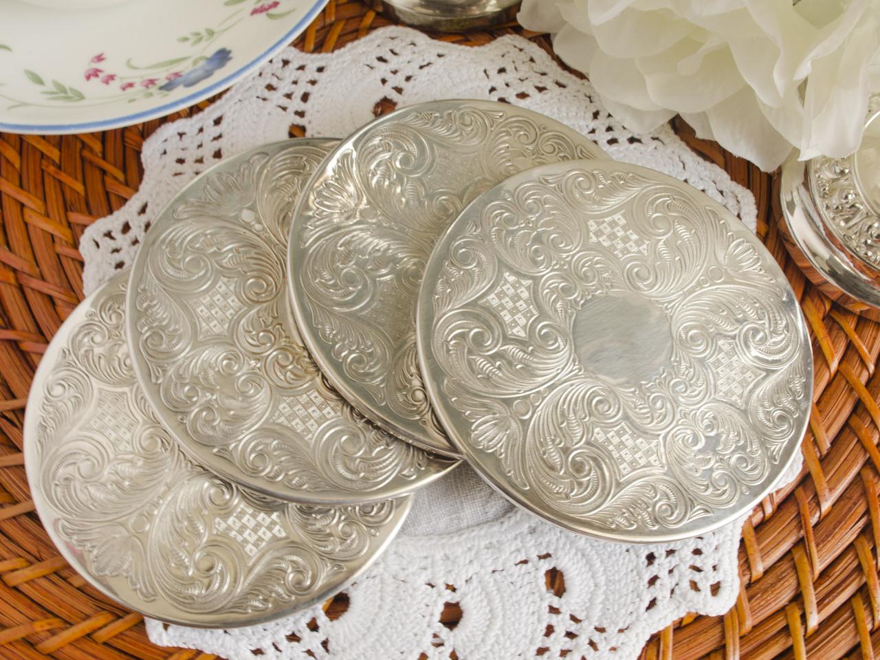 Набор из четырех подставок под бокалы, серебрение, мельхиор, Англия