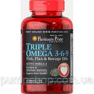 Омега-3-6-9 з олією льону і Огірочника Puritan's Pride Triple Omega 3-6-9 Fish Flax and Borage Oils 120 капс.