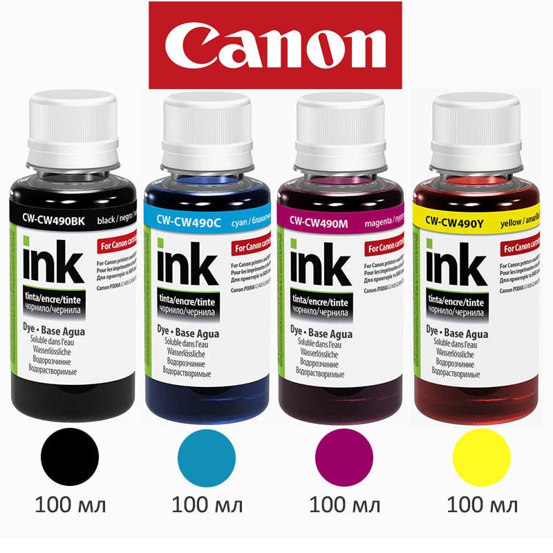 Комплект чернил ColorWay Canon GI-490 для G1400/G2400/G3400, 4x100 мл, краска для принтера кэнон