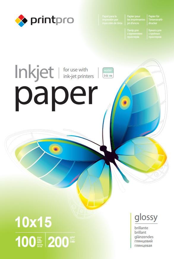 Фотобумага PrintPro глянцевая, A6 (10x15), 200 г/м, 100 шт (PGE2001004R)