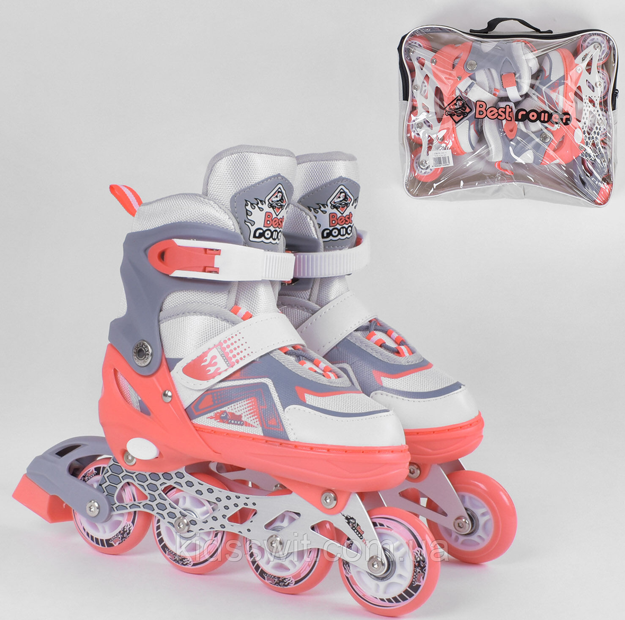 Ролики Best Roller /розмір 30-33/ колір - КОРАЛОВИЙ PU колеса, ПЕРЕДНЄ КОЛЕСО СВІТЛО, 5401-S