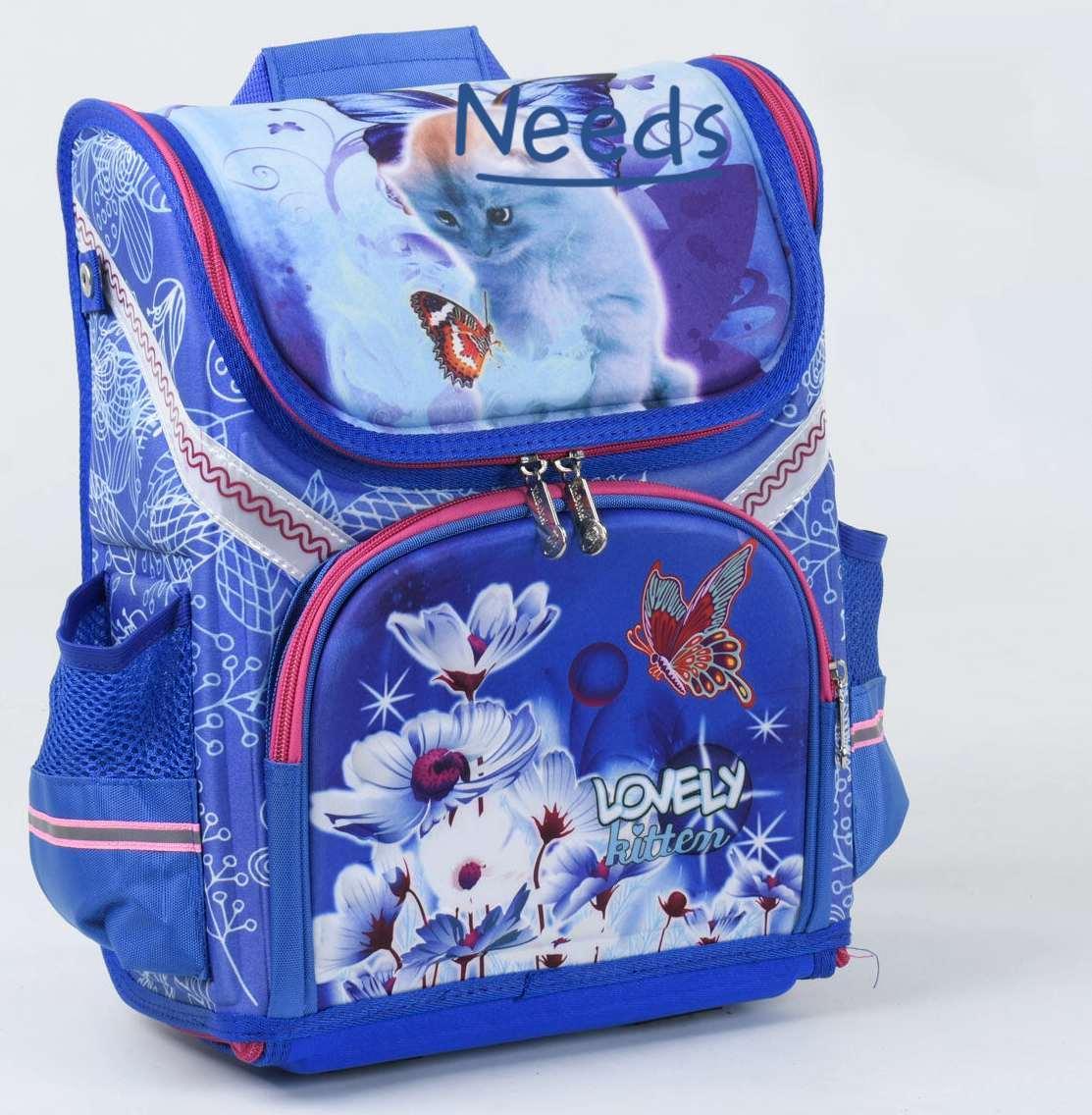 Школьный рюкзак для девочки ортопедический каркасный ранец 1 2 3 класс Синий (76924)