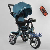 Велосипед детский трехколесный с родительской ручкой Best Trike поворотное сиденье 1-3 года Бирюзовый (88203)