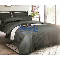 Комплект постельного белья Kris-Pol Dark Grey №545203-2 Страйп Сатин двуспальный 180х220