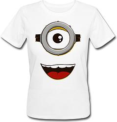 Женская футболка Fat Cat Миньон - Лицо (белая)
