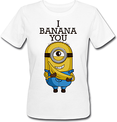 Жіноча футболка Fat Cat Міньйон - I Banana You (біла)