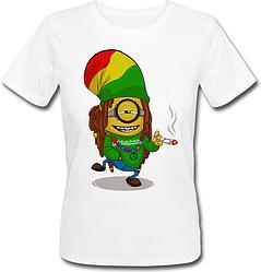 Женская футболка Fat Cat Миньон - Растаман (белая)