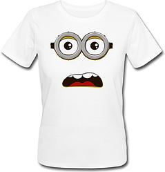 Женская футболка Fat Cat Миньон - Удивлённое лицо (белая)