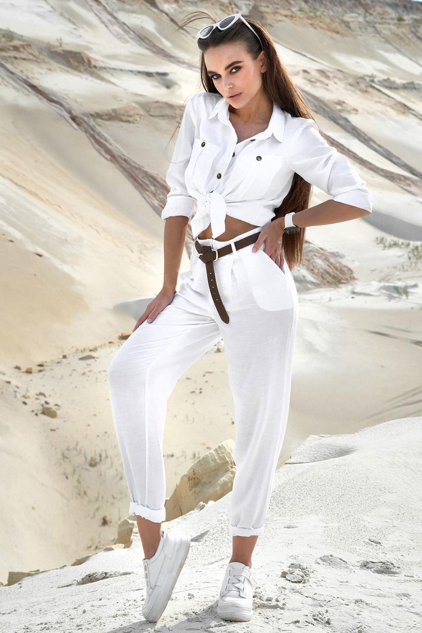 Стильний жіночий білий літній костюм бавовняний