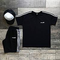 Мужской комплект летний Adidas Шорты + Футболка черный   Спортивный костюм мужской Адидас ЛЮКС качества