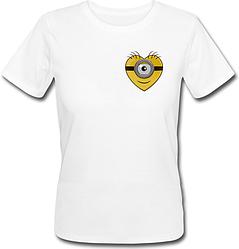 Женская футболка Fat Cat Миньон - Маленькое сердце (белая)