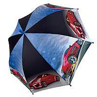 Детский зонт с машинками для мальчика трость полуавтомат SL 18104-1