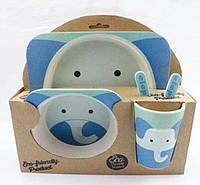 Набор детской эко-посуды из бамбука Elite Lux H0053 5в1 Слон