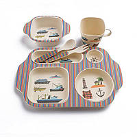 Набор детской эко-посуды из бамбука Elite Lux 5093 5в1 Морской сюжет