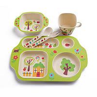 Набор детской эко-посуды из бамбука Elite Lux 5093 5в1 Лесной домик