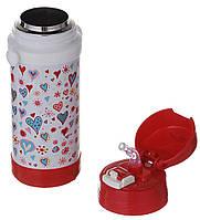 Термос детский А-Плюс 1776 320мл с трубочкой на ремешке Бело-красный