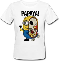 Женская футболка Fat Cat Миньон - Papaya! (белая)