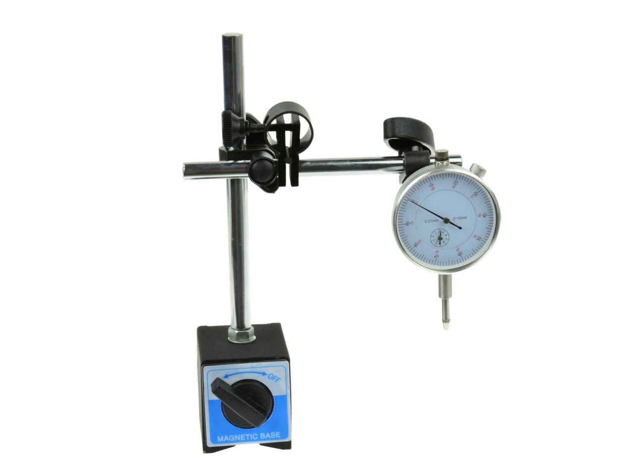 Автоматический магнитный штатив + циферблатный индикатор.