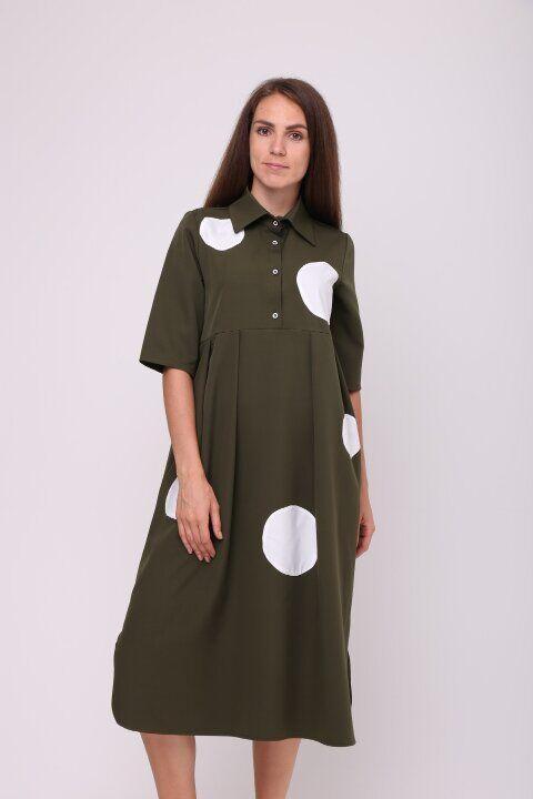 / Размер 42,44,46 / Женское платье с кругами Куклачев хаки