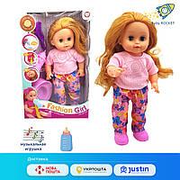 Кукла интерактивная говорящая. Кукла-пупс с аксесс. (горшок, бутылочка, расческа, зеркало), пьет воду, писает