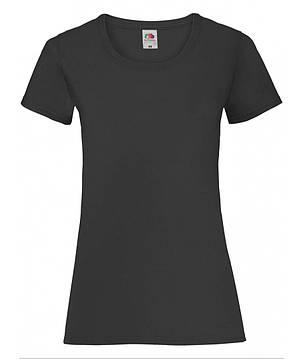 Легкая черная женская футболка «Fruit of the Loom», фото 2