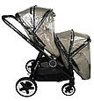 Детская прогулочная коляска Babyzz Dynasty для двойни с 2-мя прогулочными блоками (бежевая), фото 3
