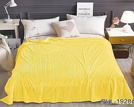 Плед покрывало 160х220 Желтый плюш полоска на кровать, диван, фото 2