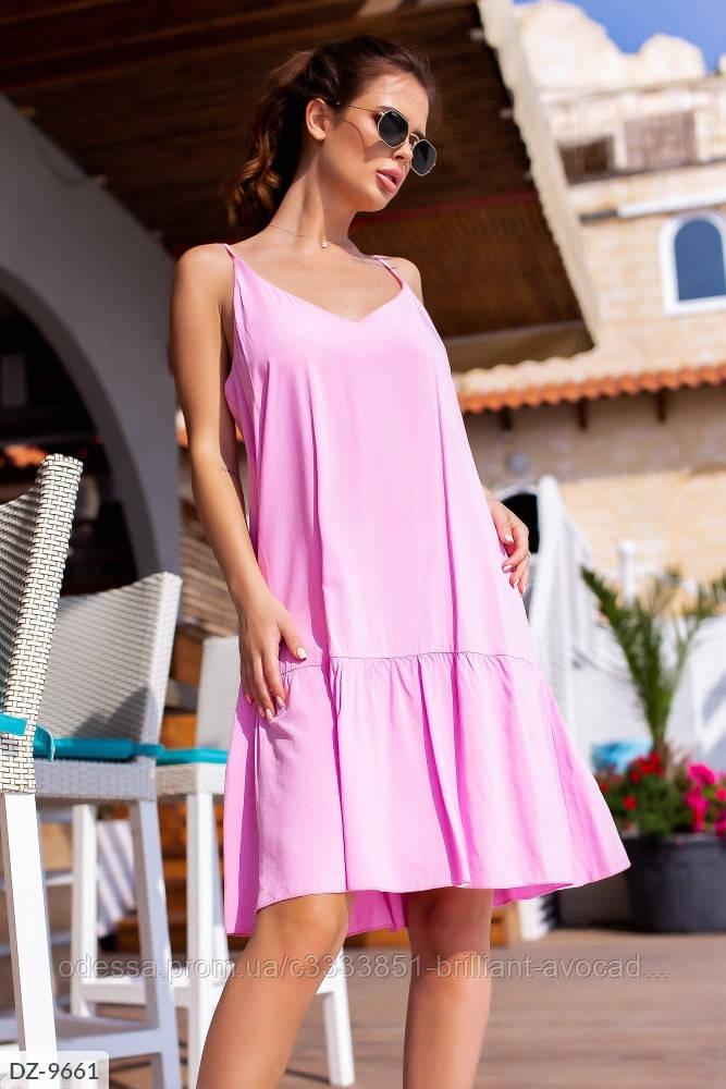 Платье майка с оборкой в модных расцветках