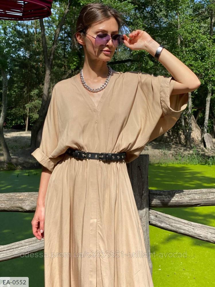 Летнее оверсайз платье с вырезом